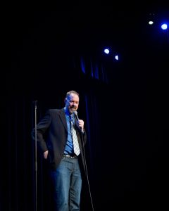 Fundraising Comedian Jim McCue get's and atta boy!
